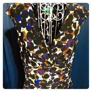 Lauren Ralph Lauren Ruched Faux Wrap Dress Size 4